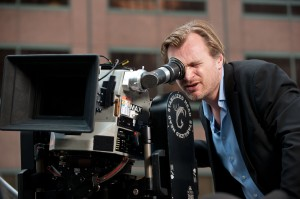 "Director Christopher Nolan setting up a shot on the set of ""The Dark Knight Rises"""