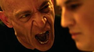 "Best Supporting Actor frontrunner J.K. Simmons does a lot of screaming at jazz drumming student Miles Teller in ""Whiplash."""
